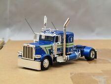 "Dcp Custom blue/silver Peterbilt 389 36""bunk single axle tractor oval wheel 1/64"