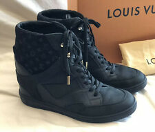 Louis Vuitton Cliff Wedge High Top Black Monogram Leather Sneakers 37