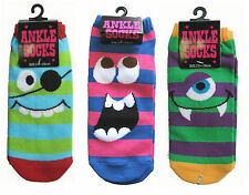 New Punk Gothic Striped Cute Goth Monster Faces Ankle Socks Pirate Red Christmas
