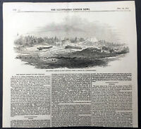 1845 ILN Original Antique Page View & Text of Soldiers in Maori Wars New Zealand