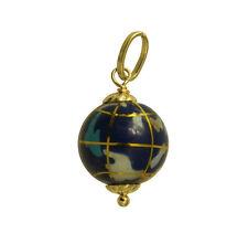 14K Yellow Gold Hollow Small Color Enamel Globe World Planet Earth Charm Pendant