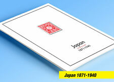 COLOR PRINTED JAPAN [CLASS.] 1871-1940 STAMP ALBUM PAGES (32 illustrated pages)