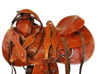 "TOOLED LEATHER HARD SEAT RANCH WORKING WESTERN ROPING HORSE SADDLE 16"" 17"""