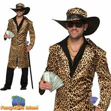 Funky Leopard Pimp Jacket + Hat 60's Groovy Adult Mens Fancy Dress Costume