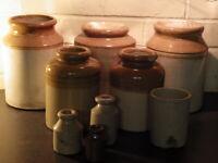 ANTIQUE Superb Collection of NINE 19th Century STONEWARE KITCHEN JARS