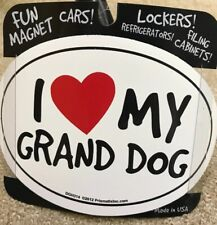 I Love Heart My Grand Dog White Oval Car Refrigerator Magnet Dogs Pet Lover New