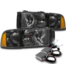 99-01 DODGE RAM 1500 SPORT SMOKE HEADLIGHT W/CORNER TURN SIGNAL LAMP+50W 8K HID