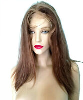 Full Lace Thin Skin PU Wig Silk Top Human Hair Indian Remi Remy Dark Brown Mix