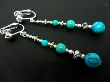 A PAIR TIBETAN SILVER TURQUOISE  BEAD  EXTRA LONG CLIP ON EARRINGS. NEW.