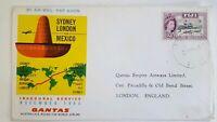 1964 QANTAS INAUGURAL FLIGHT SYDNEY LONDON VIA MEXICO. POSTED IN FIJI.