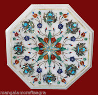 """12"""" Marble Side End Table Top Stone Handmade Paua Shell Pietra dura Inaly Work"""