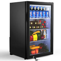 Famistar Beverage Refrigerator and Cooler - 126 Can Mini Fridge with Glass Door