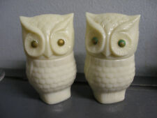 LOT 2 VINTAGE GLASS OWL FIGURINE JAR AVON MOONWIND OFF WHITE SACHE & GREEN EYES