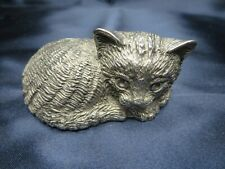 Vintage Reed and Barton Musical Music Box Silver Plated Cat Kitty kitten