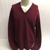 Men's VTG Alan Paine 100% Pure Lambswool V-Neck Maroon Sweater Sz 46 (XL) EUC