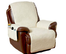 Fleece Armchair Chair Cover Furniture Protector with 6 Storage Pockets