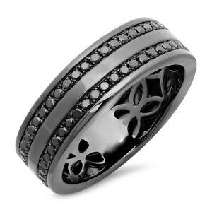 Mens Black Diamond Ring 14K Gold Rhodium Band Wedding Engagement Natural 0.86CT