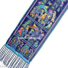 Laurel Burch Mythical Dogs Dancing Silk Neck SCARF Wrap Blue w Fringe New