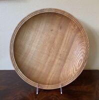 "VINTAGE WOOD BOWL Shallow Round Centerpiece Dish 13"" Machine Carved Rustic EUC"