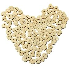 100pcs Nature Wood Wooden Buttons Sewing DIY Craft Heart Shape 2 Holes C1i8 K7p8