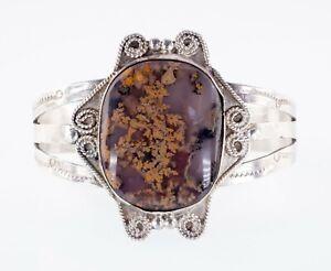 Vintage Navajo Pétrifié Bois Argent Sterling Manchette Bracelet