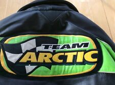 Team Arctic Cat Leather Coat Medium Unisex Snowmobile Jacket Warm Black Green