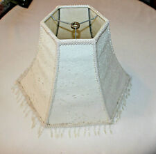 "Ivory Cream Hydrangea Cut Out Beaded Lamp Shade Trimmed 10"" Tall"