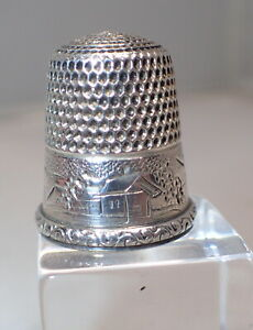 Antique Sterling Silver Landscape Thimble by Simons Brothers Size12