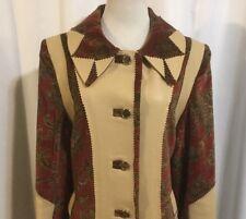 Custom Tailored Dress Coat Women's L Tan Leather  & Wine Paisley Crushed Velvet