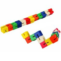 Kids Twist and Lock Wooden Blocks Mini Puzzle Twisty Fidget Fiddle Sensory Toy