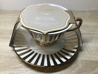 CIROA LUXE METALLIC Gold and White TEA CUP AND SAUCER SET New