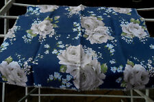CATH KIDSTON Cotton FABRIC, One Piece, Creamy White / Gray Roses Flowers on Blue