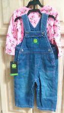 NEW John Deere Bib Overalls, blue denim Jeans,9-12 mo Baby & Toddlers, Girls