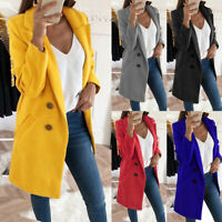 Womens Woolen Lapel Neck Long Coat Winter Warm Blazer Suit Parka Jacket Outwear