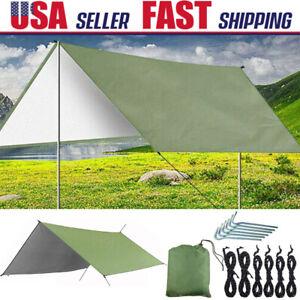 10x10 ft Waterproof Tent Tarp Hammock Sun Shade Rain Fly Shelter fr Beach Picnic