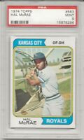 SET BREAK - 1974 Topps #563 HAL MCRAE , PSA 9 MINT, KANSAS CITY ROYALS, CENTERED