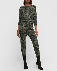 Express Cotton Soft Stretch Long Sleeve Cozy Camo Green Printed Jumpsuit Large L