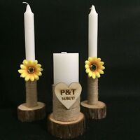 Custom Wedding Unity Candles Set of 3, Rustic Wedding Candles Wedding Decoration