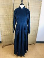 Vintage Droopy & Browns Angela Holmes Blue Corduroy Dress Size 12 Full Skirt