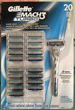 GILLETTE MACH 3 TURBO RAZOR BLADES 20 CARTRIDGES 1 RAZOR HANDLE 1 PACK NEW