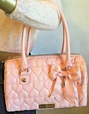 Betsey Johnson Handbag Quilted Hearts BE MINE Pink Satchel Purse Bow Handbag