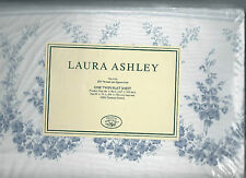 Laura Ashley Sophia Floral Twin Flat Sheet White Blue New 1st Quality