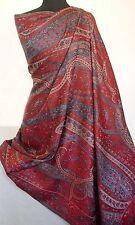Red Large Jamawar Wool Shawl Dramatically Beautiful Paisely Shawl Pashmina Style