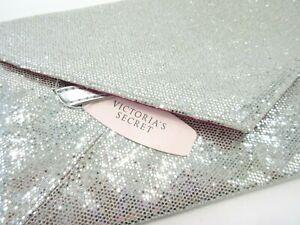 Victoria's Secret Metallic Silver BlING Evening Clutch Purse Bag Envelope NWT
