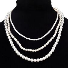 Statement Bib Pendant Chain Necklace Bride Wedding Pearl Jewelry Choker Chunky