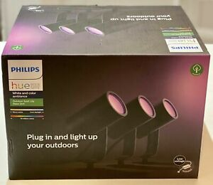 Philips Hue White & Colour Ambiance Lily Outdoor Spot Light Kit - New