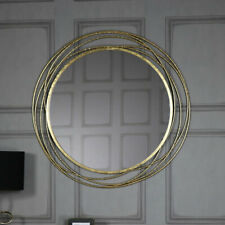 Extra large round antique gold circle swirl mirror vintage chic living room hall
