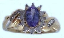 10kt Oro Amarillo 0.50 Quilates Ovalado Azul Tanzanita / 0.20ctw Diamante