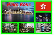 HONG KONG - SOUVENIR NOVELTY FRIDGE MAGNET - FLAGS / SIGHTS - GIFT / BRAND NEW