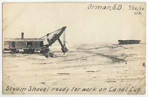1906 Orman, South Dakota - REAL PHOTO Steam Shovel Digging Canal, Railroad